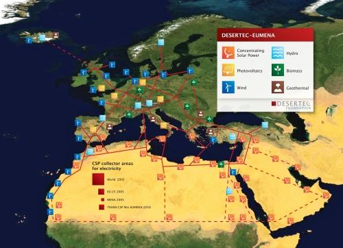 Desertec es un proyecto para generar electricidad con fuentes renovables en el norte de África y consumirla en Europa. (fuente Desertec)